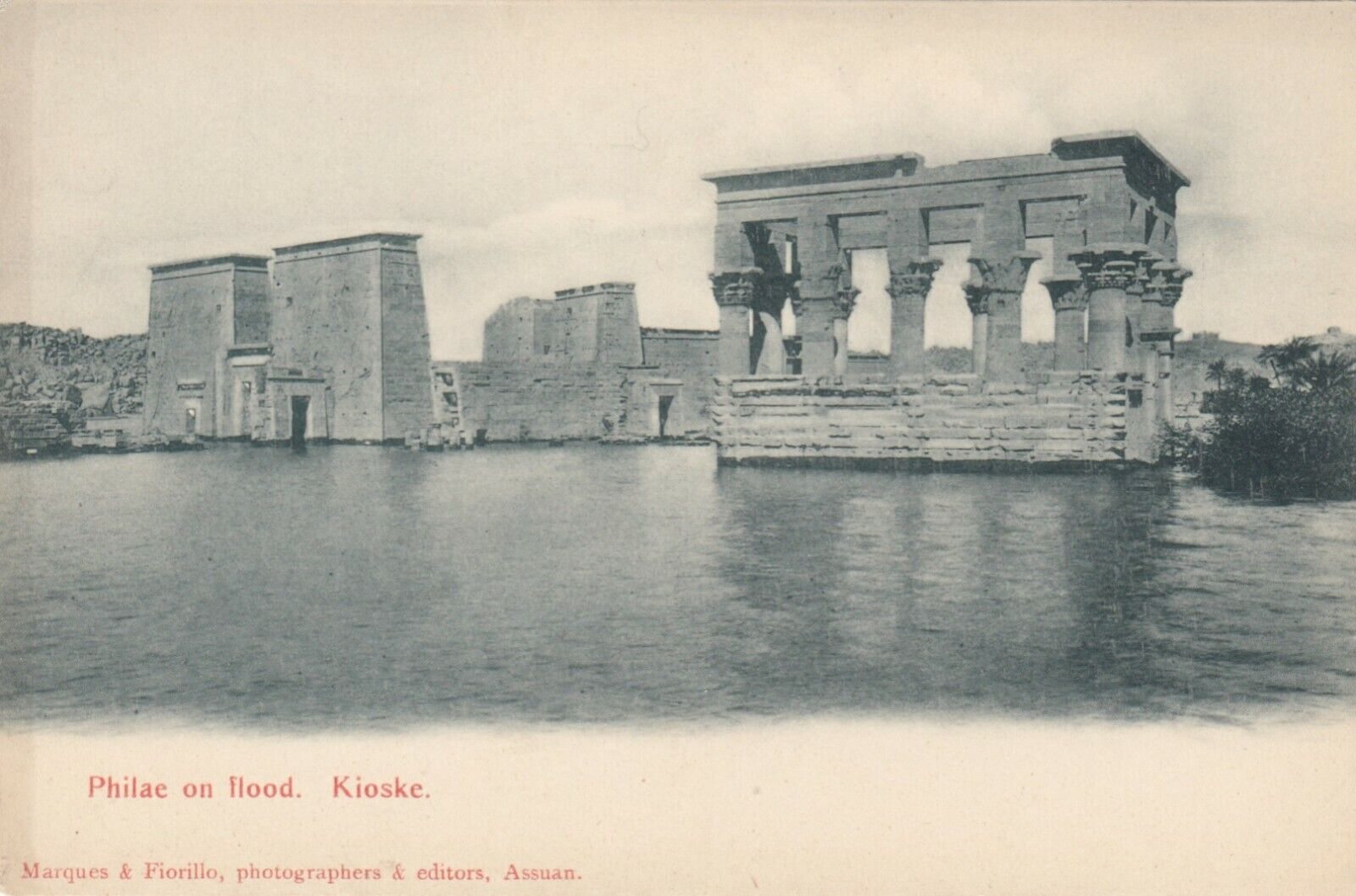 PHILAE , Egypt , 1900-1910s ; Kioske in flood