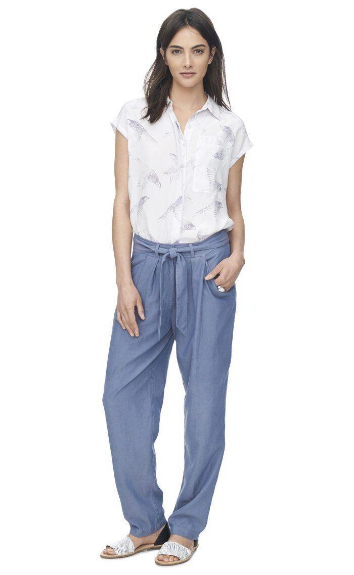 295 Rebecca Taylor Pleated Silk Sapphire bluee Tie Waist Twill Pants 10 NWT R378