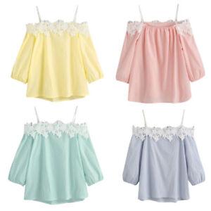 Damen-Shirts-Chiffon-Lace-Carmenshirt-Schulterfrei-Tops-Spitze-Sommer-T-Shirt