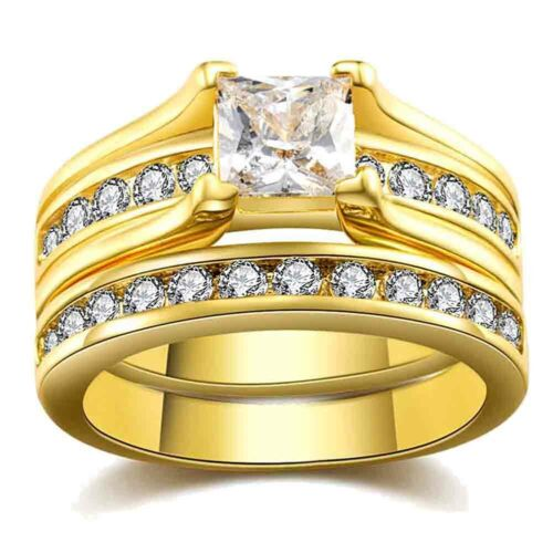 Couple Rings Yellow Gold Filled Titanium Steel CZ Mens Band Womens Wedding Ring