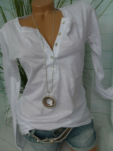 Heine Shirt Damen Bluse Gr 687 34 bis 52 weiß Langarm Knopfleiste