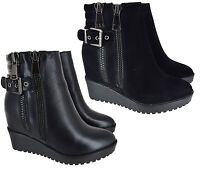 WOMENS LADIES BLACK WEDGE HEEL ANKLE MID CALF HIGH ZIP UP SHOES BOOTS SIZE 3-8