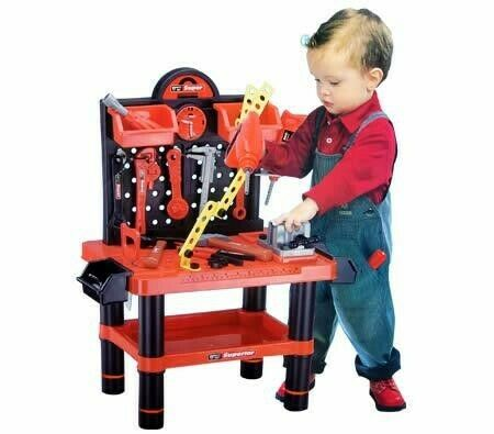 Childrens Work Bench Play Tool Shop Diy Builder Construction Toy Drill Kit Set