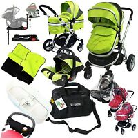 Isafe Baby Luxury Pram Travel System 3 In 1 Lime + Carseat Full Complete Package