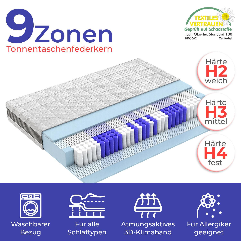 Pocket Sprung Mattress 9 Zone 80x200 140x200 180x200cm H2 H3 H4 Hamburg 23cm