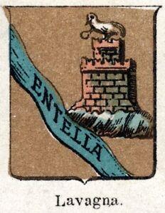 Cromolitografia Genova: Piccolo Stemma del 1901 Passepartout Stampa Antica