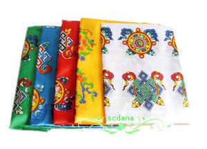 5 Colors Tibetan Traditional Khata Eight Auspicious Good Luck Scarf 5 Pieces