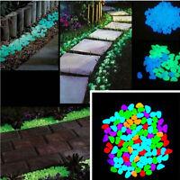 100pcs Pack Glow In The Dark Pebbles Luminous Stones Garden Fish Tank Decoration