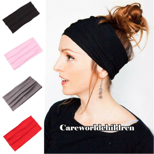 Women Ladies Wide Sports Yoga Headband Stretch Turban Running Sports Hairband