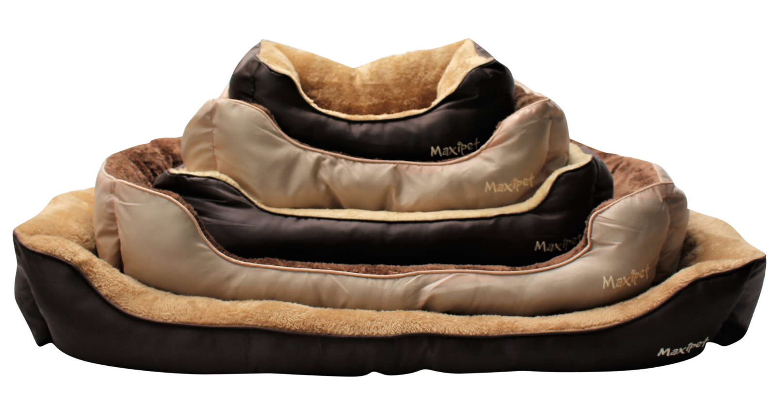 MaxiPet Deluxe Soft Washable Dog Pet Warm Basket Bed Cushion with Fleece Lining Large Beige