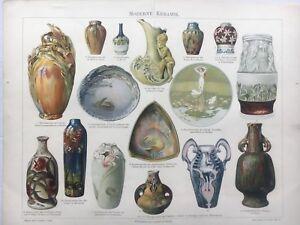 Steingut Porzellan moderne keramik jugendstil nouveau chromolitho steingut