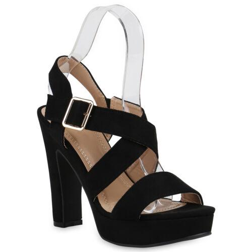 Damen Abiball Plateau Sandaletten Wildleder-Optik High Heels 821333 Schuhe
