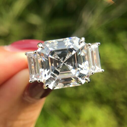 Luxury 100/% 925 Sterling Silver Moissanite Gemstone Wedding Engagement Ring