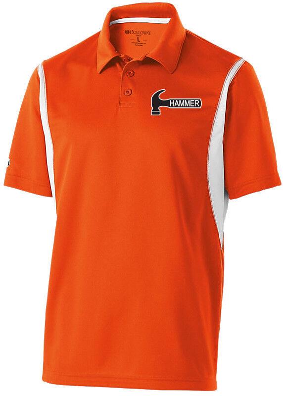Hammer Men's Taboo Performance Polo Bowling Shirt Dri-Fit orange White