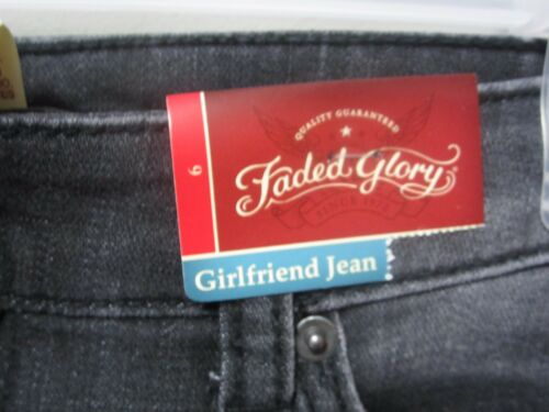 Faded Glory Women/'s Black Wash Girlfriend Jeans Size 6