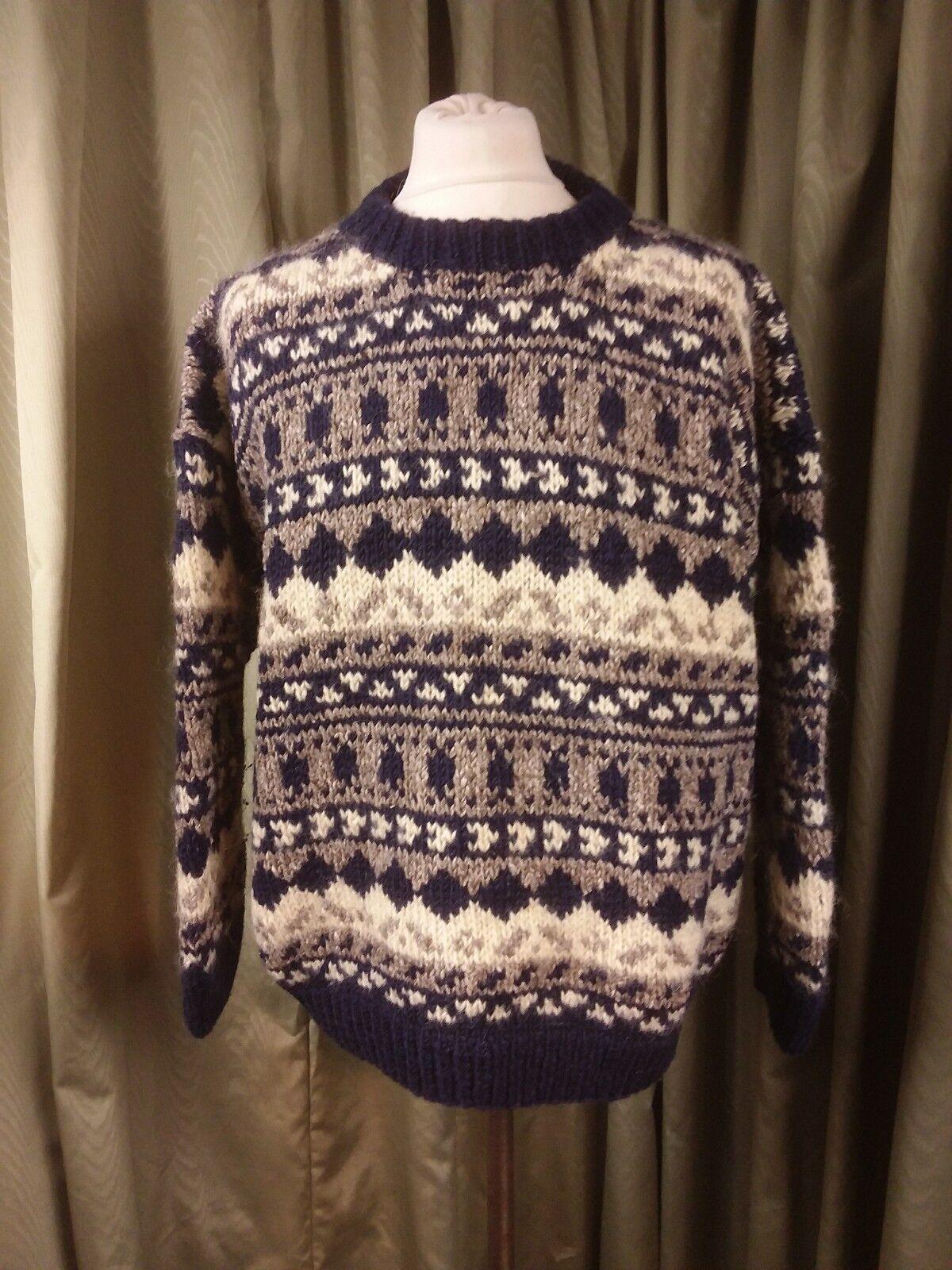 Hand Knitted Nordic Thick blu grigio Cream Jumper XL C44-46