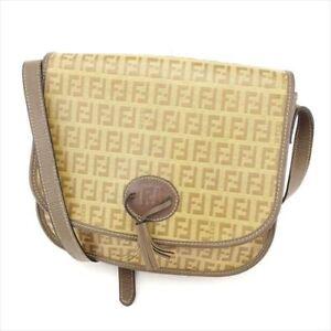 Fendi Shoulder bag Zucchino Beige PVC leather Woman Authentic Used ... 3d60cbc6c6135
