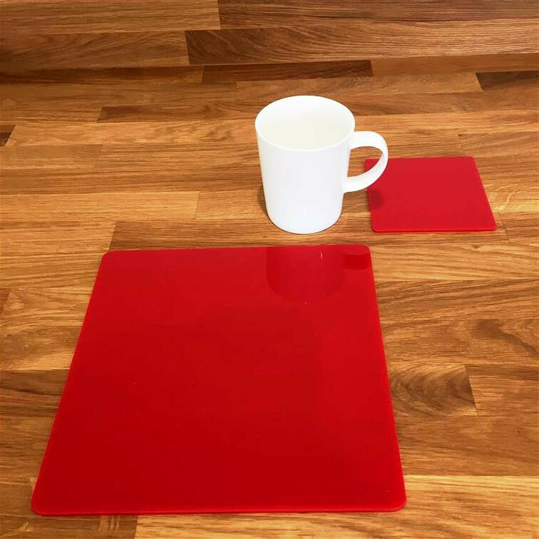 Square Placemat and Coaster Set - Red