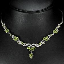 925 plata esterlina genuino Peridot Natural Verde Manzana Collar Y Gota De 18 pulgadas