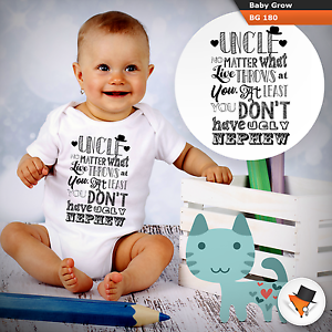 Uncle funny baby grow babysuit Father/'s Day gift Birthday from nephew!