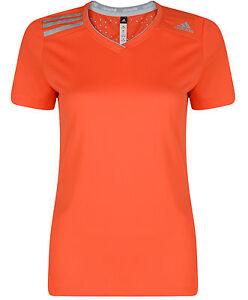New-Adidas-ClimaChill-Running-Top-T-Shirt-Orange-Ladies-Womens-Gym-Fitness