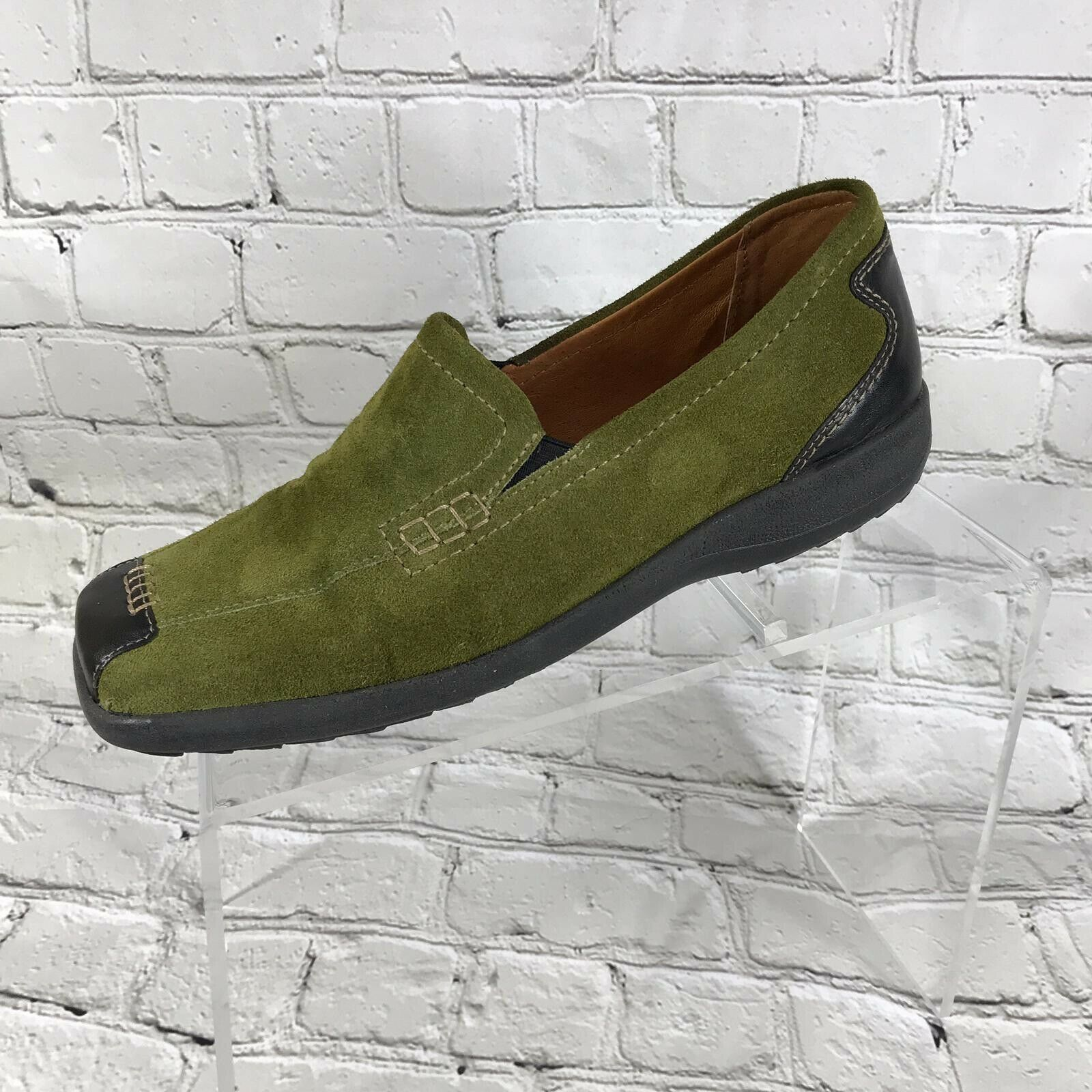 Spring Step women  Green Leather and Suede Loafers US Size 8.5