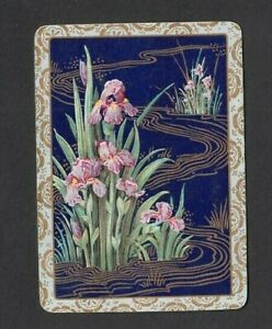 1-WIDE-SWAP-PLAYING-CARD-ART-DECO-FLOWER-IRIS-PINK-BLACK-amp-GOLD-STUNNING-C1900