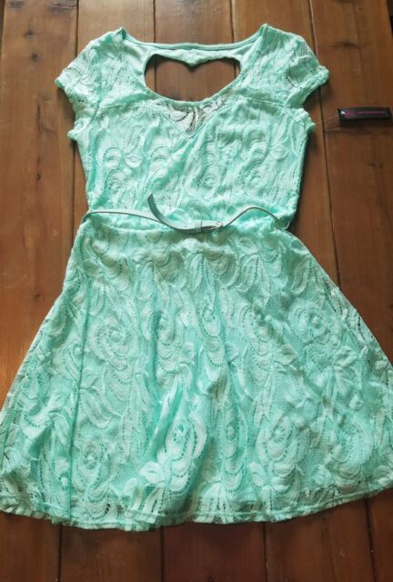 9bef0756e Juniors No Boundaries MINT Green Lace Belted Dress Size 7-9 for sale ...