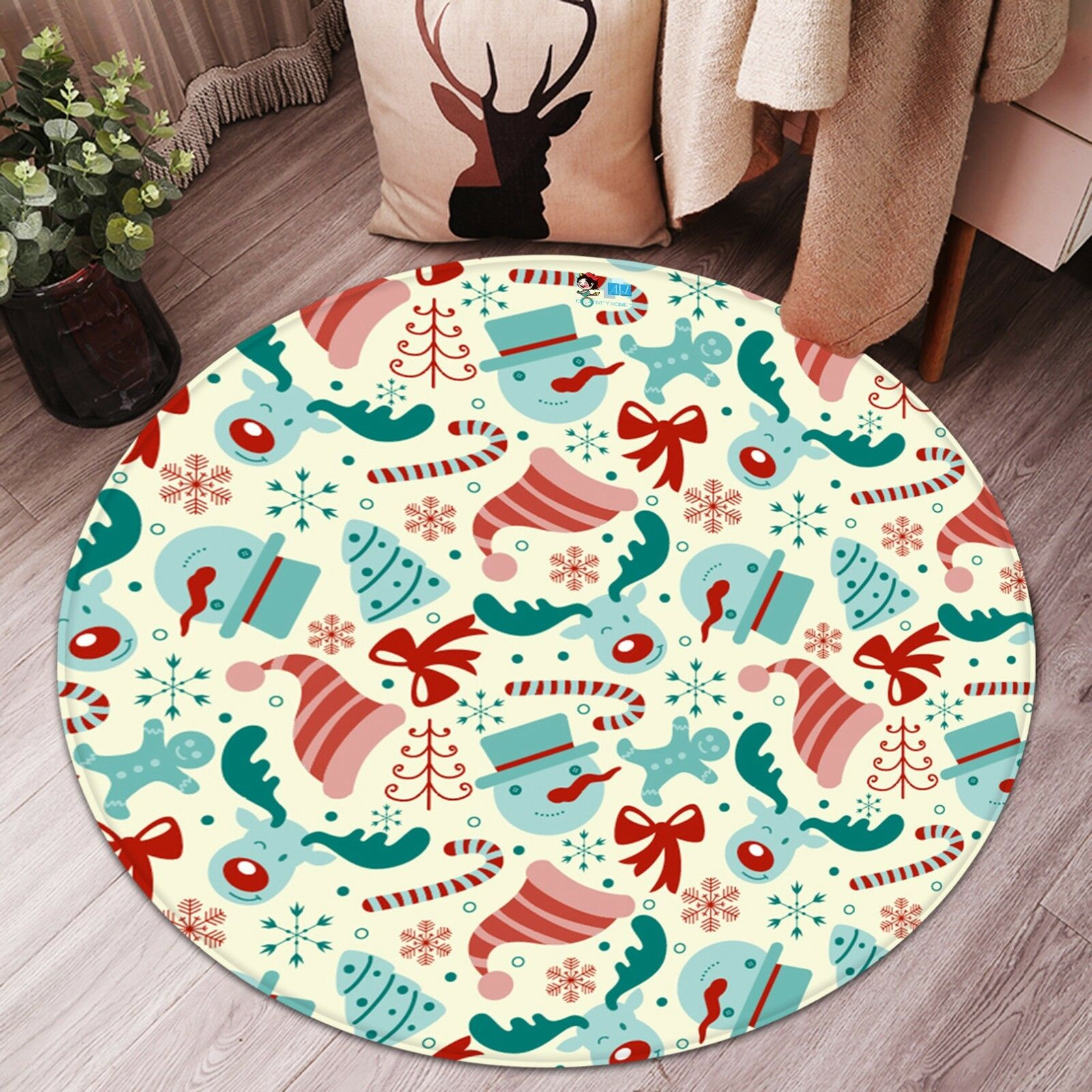 3D Christmas  Xmas 468 Non Slip Rug Mat Room Mat Round Elegant Photo Carpet AU