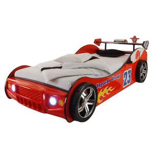 Details zu Autobett mit LED Beleuchtung MDF Kinderzimmer Kinderbett  Autorennbett Spielbett