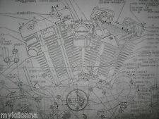 Harley Davidson SPORTSTER Engine Transmission Frame LOT Blueprints poster print