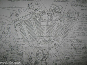Harley davidson xl sportster engine blueprint poster print showing image is loading harley davidson xl sportster engine blueprint poster print malvernweather Image collections
