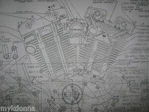 Harley davidson xl sportster engine blueprint poster print showing image is loading harley davidson xl sportster engine blueprint poster print malvernweather Images