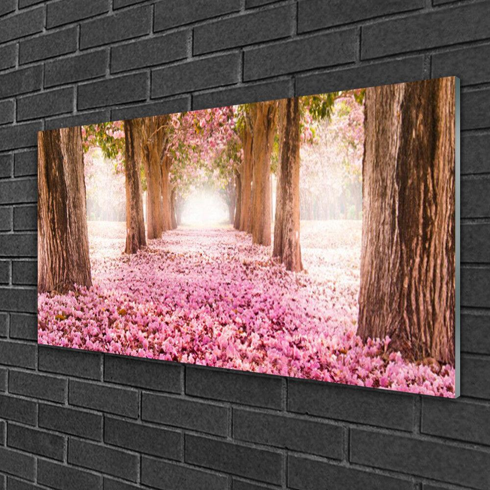 Image sur verre Tableau Impression 100x50 Nature Chemin Troncs D'arbres