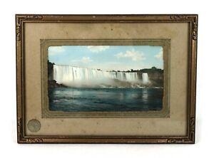 Antique-Hand-Tinted-Photograph-Print-of-Niagara-Falls-Landscape-Framed