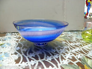 ART GLASS BOWL PINK,BLUE SWIRL WHITE INSIDE VERY COOL