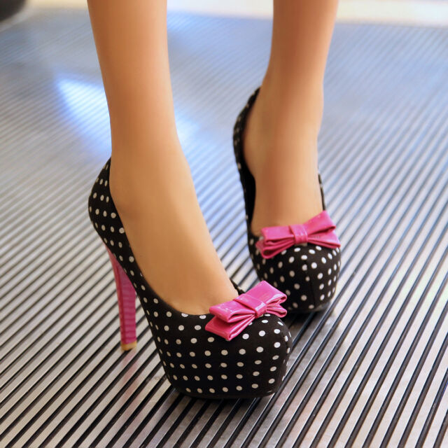 Polka Dot Sweet Bowknot Womens Platform Slip On Shoes Korea Lady Party Stilettos