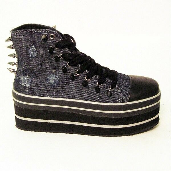 YRU Platform Boots, Cute to the Core, Denim Spiked, Youth Rise Up, Size 38  5