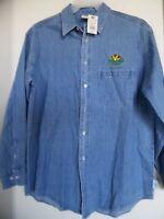 Rainforest Cafe Las Vegas Blue Jean Denim Mens Shirt Size M Embroidered