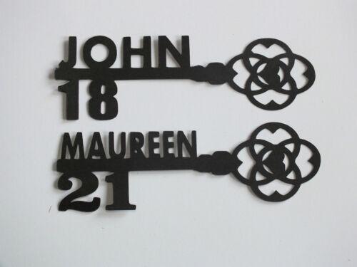 10 Noir clés Anniversaire Nom Âge silhouette carte topper