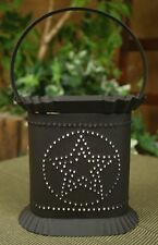 Oval Hand Punched Tin Rustic Brown BARN STAR Electric Wax Tart Potpourri Warmer