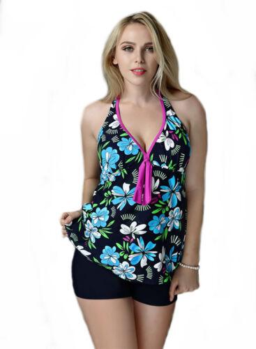 Women/'s 2-Piece Halter Neck Cupped Push-up Tankini Set Padded Swimwear Swimdress