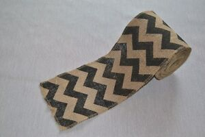 5 5 Quot Wide Black Chevron Printed Burlap Ribbon 10 Yards
