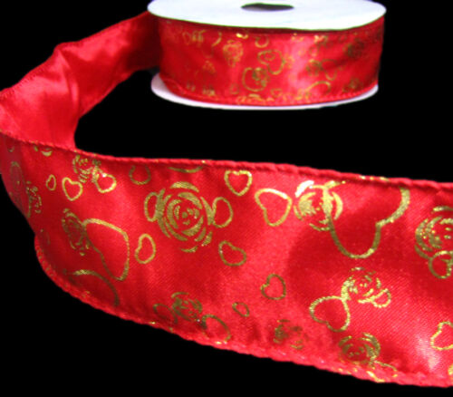 """5 Yards Wedding Valentine Love Gold Hearts Roses Satin Wired Ribbon 1 1//2/"""""""