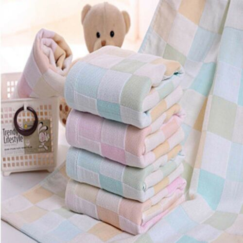 1pc Cotton Baby Gauze Face Handkerchief Square Towel Lattice Towel Feeding Towel