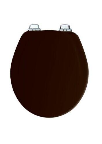 Round Black Soft Close Chrome Hinge Wood Toilet Seat Bemis 30CHSL 047