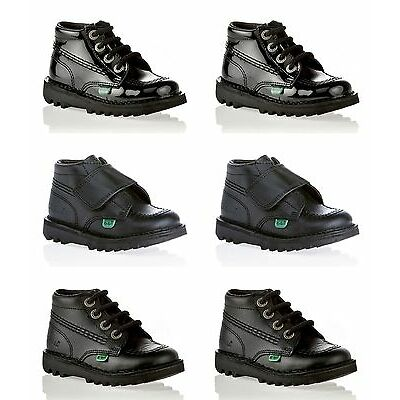 KICKERS Kick Hi Black Leather Boots Patent New Boys Girls Infants Lace Size 7-12