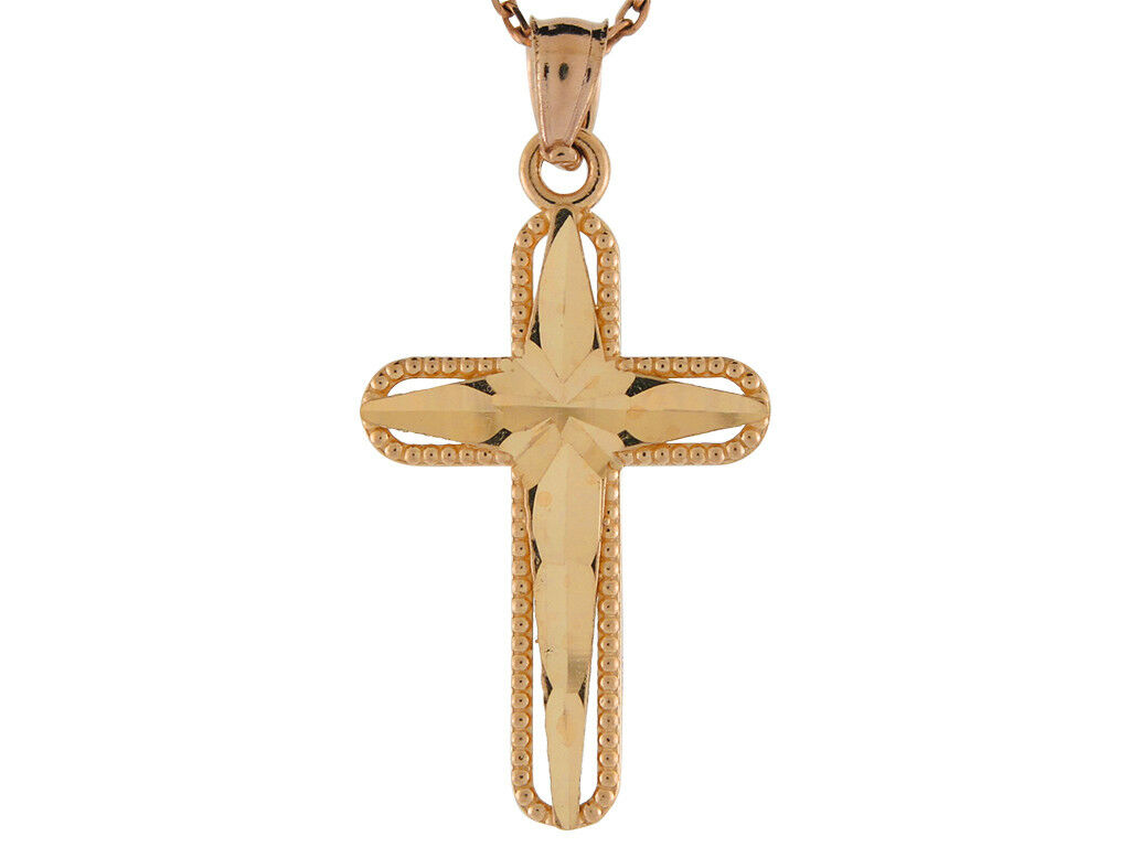 10k or 14k Yellow gold Fine Passion Cross with Beaded Edge Frame Pendant