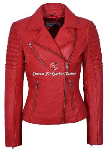 9334 Ladies Jacket Fashion Designer Napa 100 Red Biker Leather Style zzwq5Sr4n
