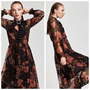 Dettagli su Zara Flowing Floreale Stampato lungo Vestito Maxi a Fiori Devore Velluto
